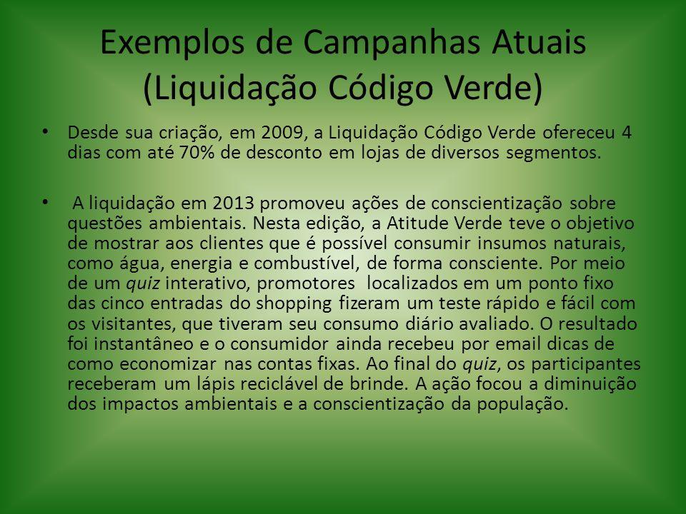 Exemplos de Campanhas Atuais (Liquidação Código Verde)