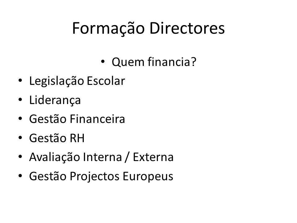 Formação Directores Quem financia Legislação Escolar Liderança