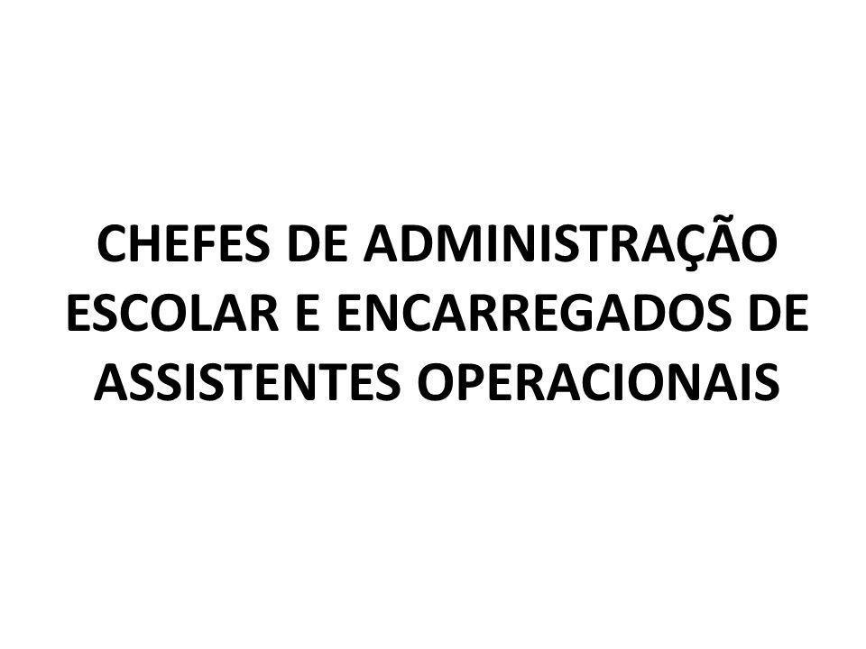 CHEFES DE ADMINISTRAÇÃO ESCOLAR E ENCARREGADOS DE ASSISTENTES OPERACIONAIS