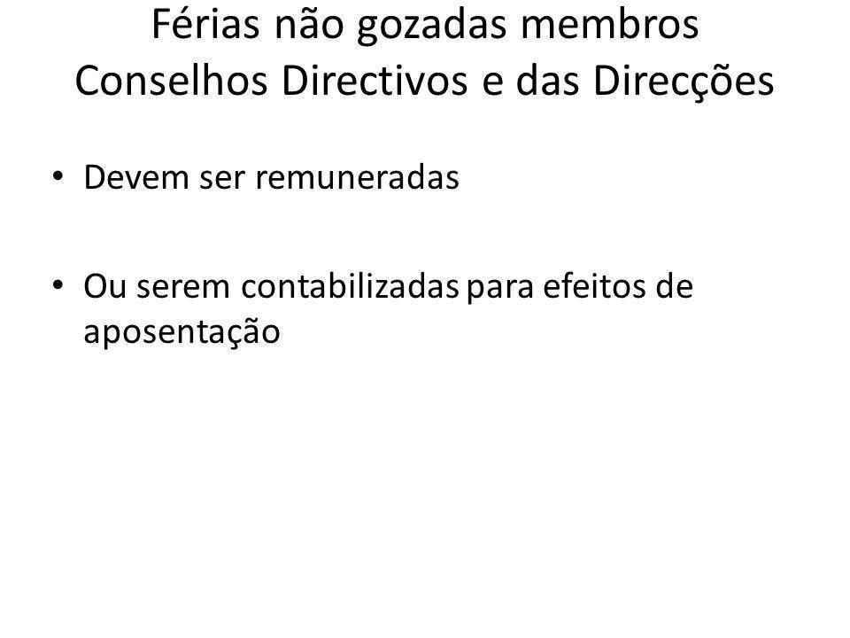 Férias não gozadas membros Conselhos Directivos e das Direcções