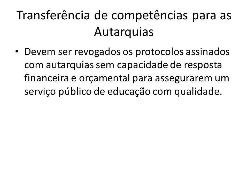 Transferência de competências para as Autarquias