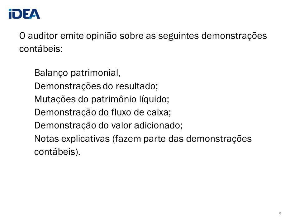 O auditor emite opinião sobre as seguintes demonstrações contábeis: