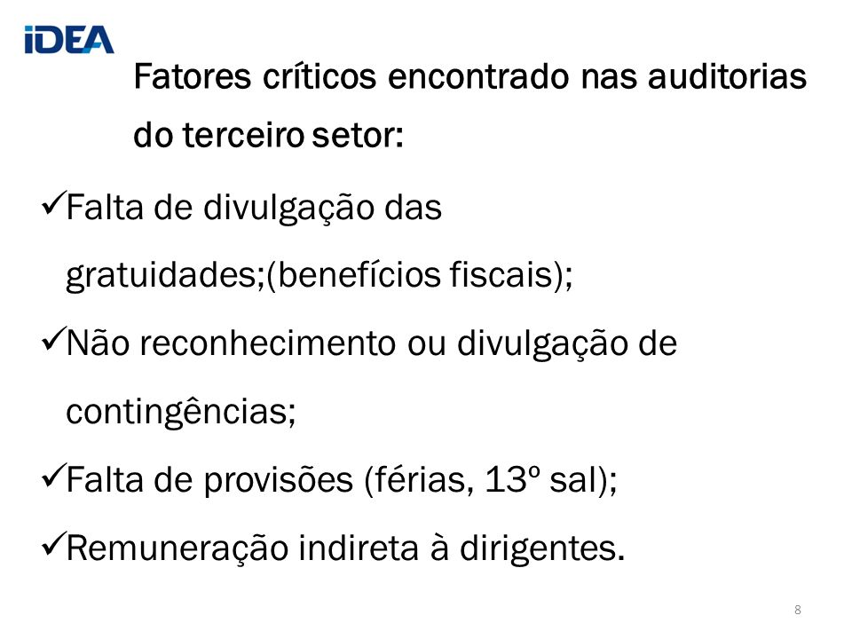 Fatores críticos encontrado nas auditorias do terceiro setor: