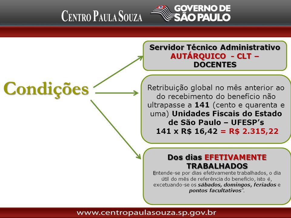 Condições Servidor Técnico Administrativo AUTÁRQUICO - CLT – DOCENTES