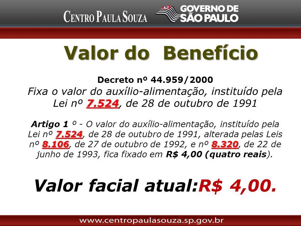 Valor do Benefício Valor facial atual:R$ 4,00.