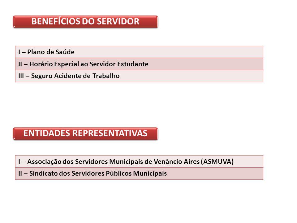 BENEFÍCIOS DO SERVIDOR ENTIDADES REPRESENTATIVAS