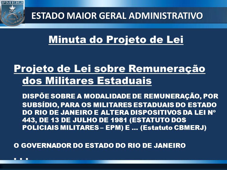 ESTADO MAIOR GERAL ADMINISTRATIVO Minuta do Projeto de Lei