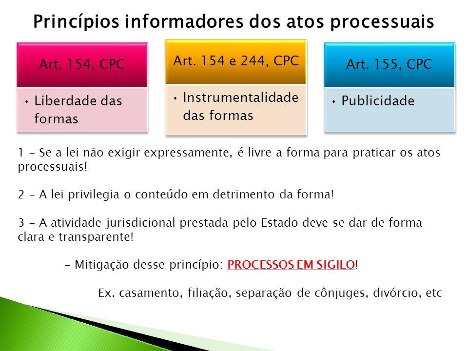 Princípios informadores dos atos processuais