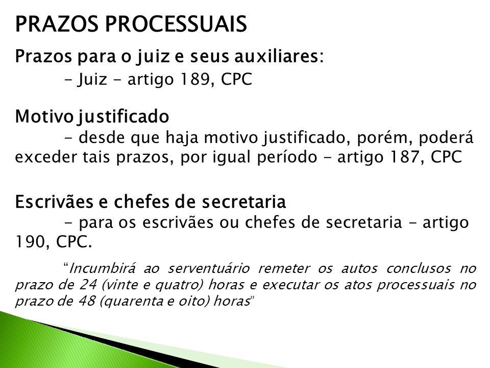 PRAZOS PROCESSUAIS - Juiz - artigo 189, CPC