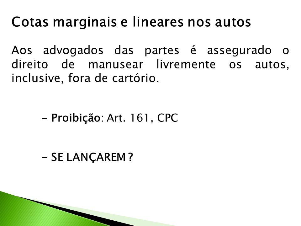 Cotas marginais e lineares nos autos