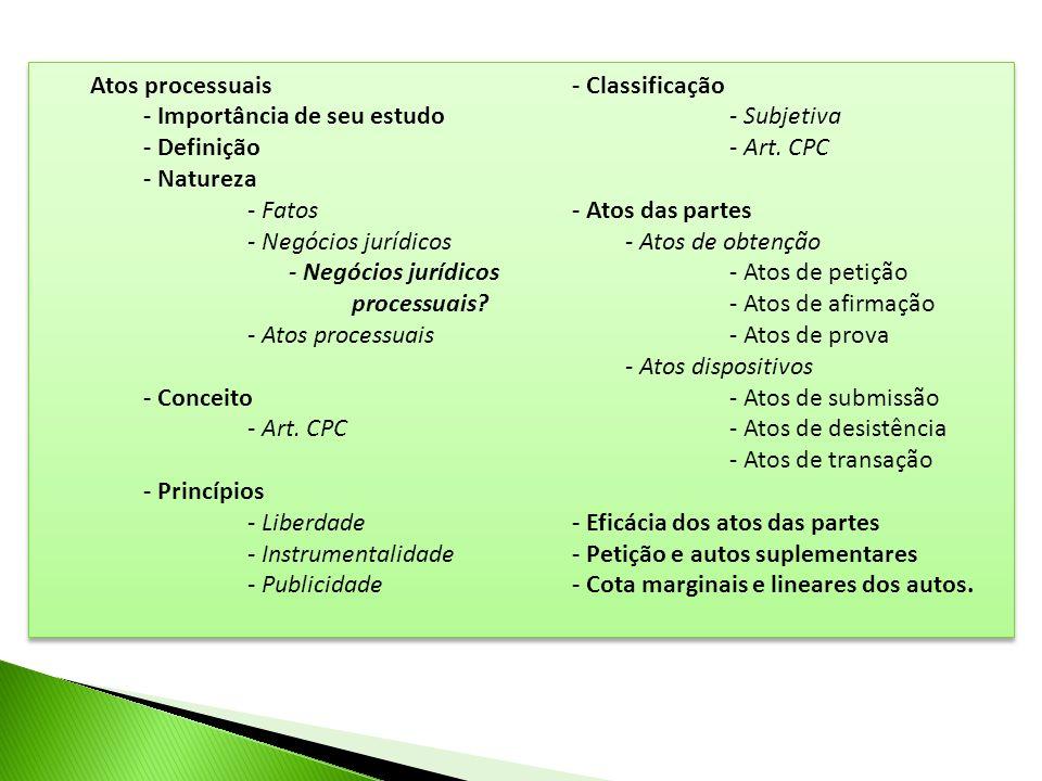 Atos processuais - Classificação. - Importância de seu estudo. - Subjetiva. - Definição. - Natureza.