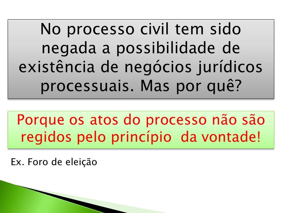 Porque os atos do processo não são regidos pelo princípio da vontade!
