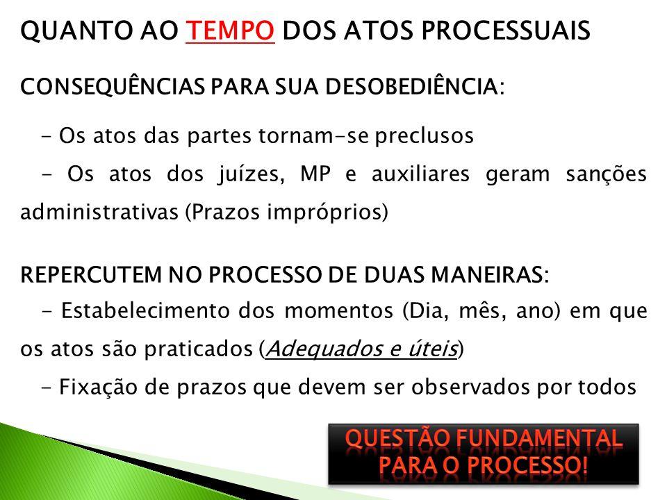 QUESTÃO FUNDAMENTAL PARA O PROCESSO!