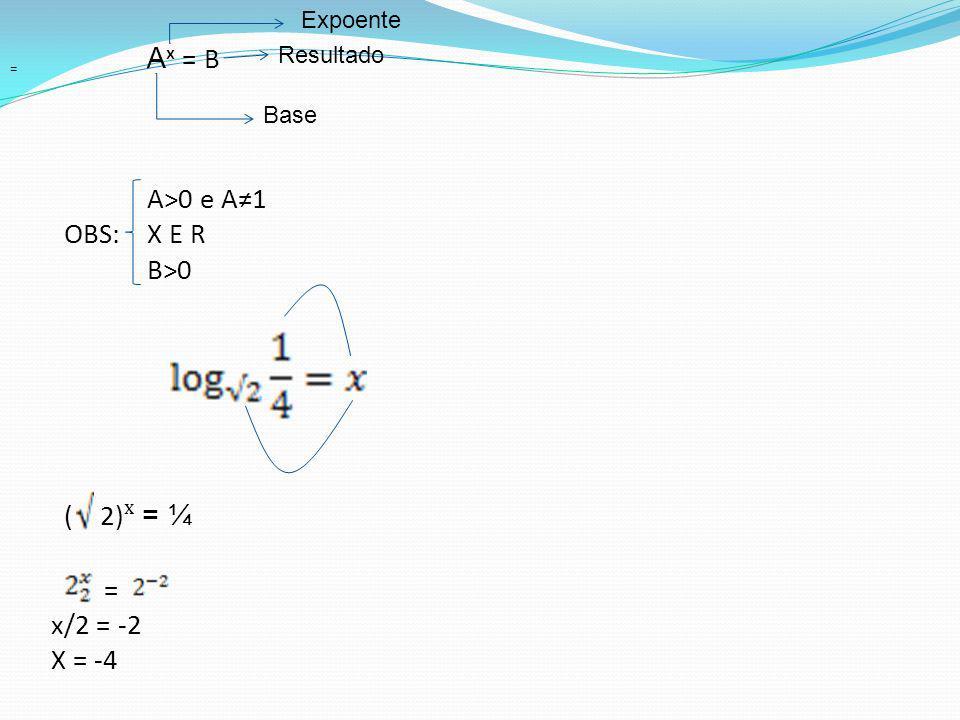Aˣ = B A>0 e A≠1 OBS: X E R B>0 ( 2)ˣ = ¼ = x/2 = -2 X = -4