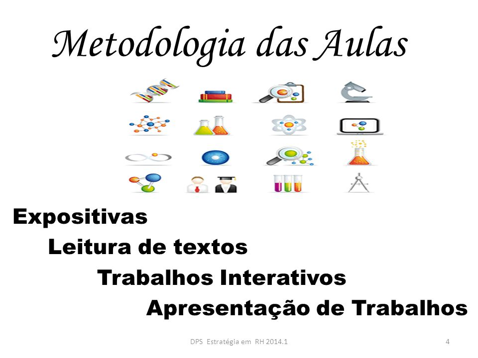Metodologia das Aulas Expositivas Leitura de textos Trabalhos Interativos Apresentação de Trabalhos