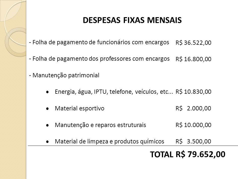 DESPESAS FIXAS MENSAIS