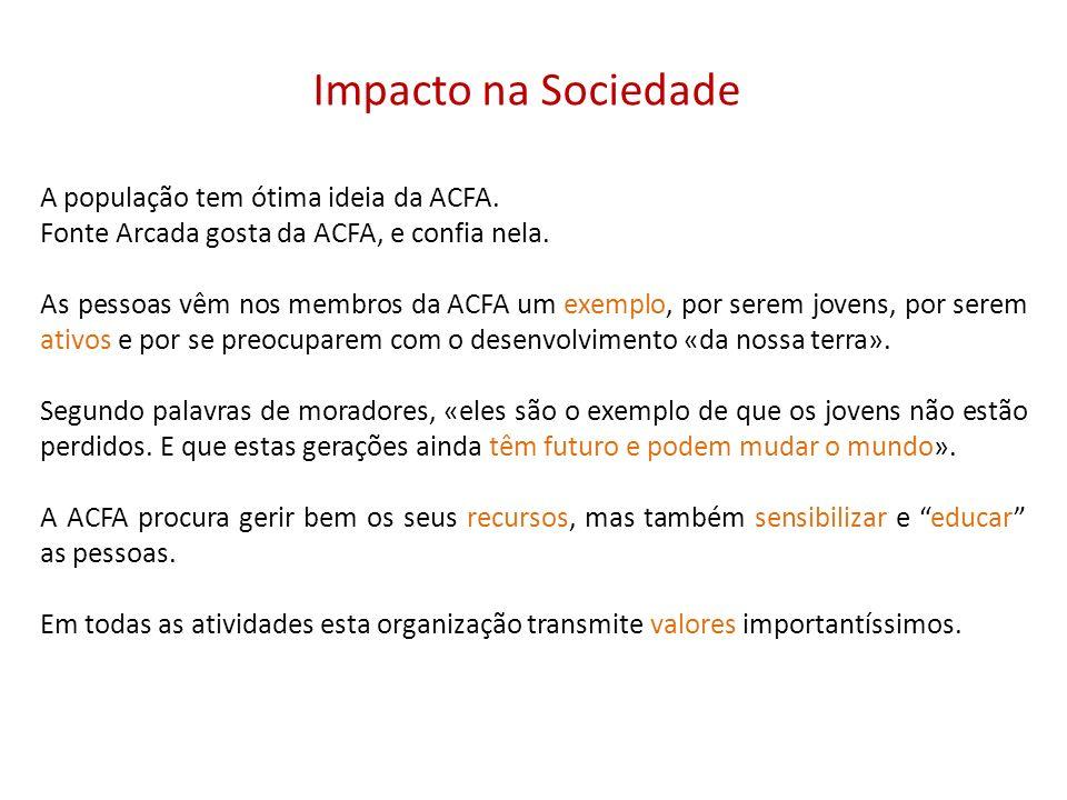Impacto na Sociedade A população tem ótima ideia da ACFA.
