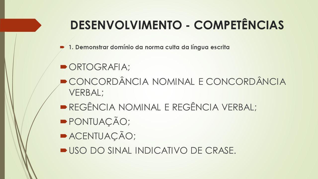 DESENVOLVIMENTO - COMPETÊNCIAS