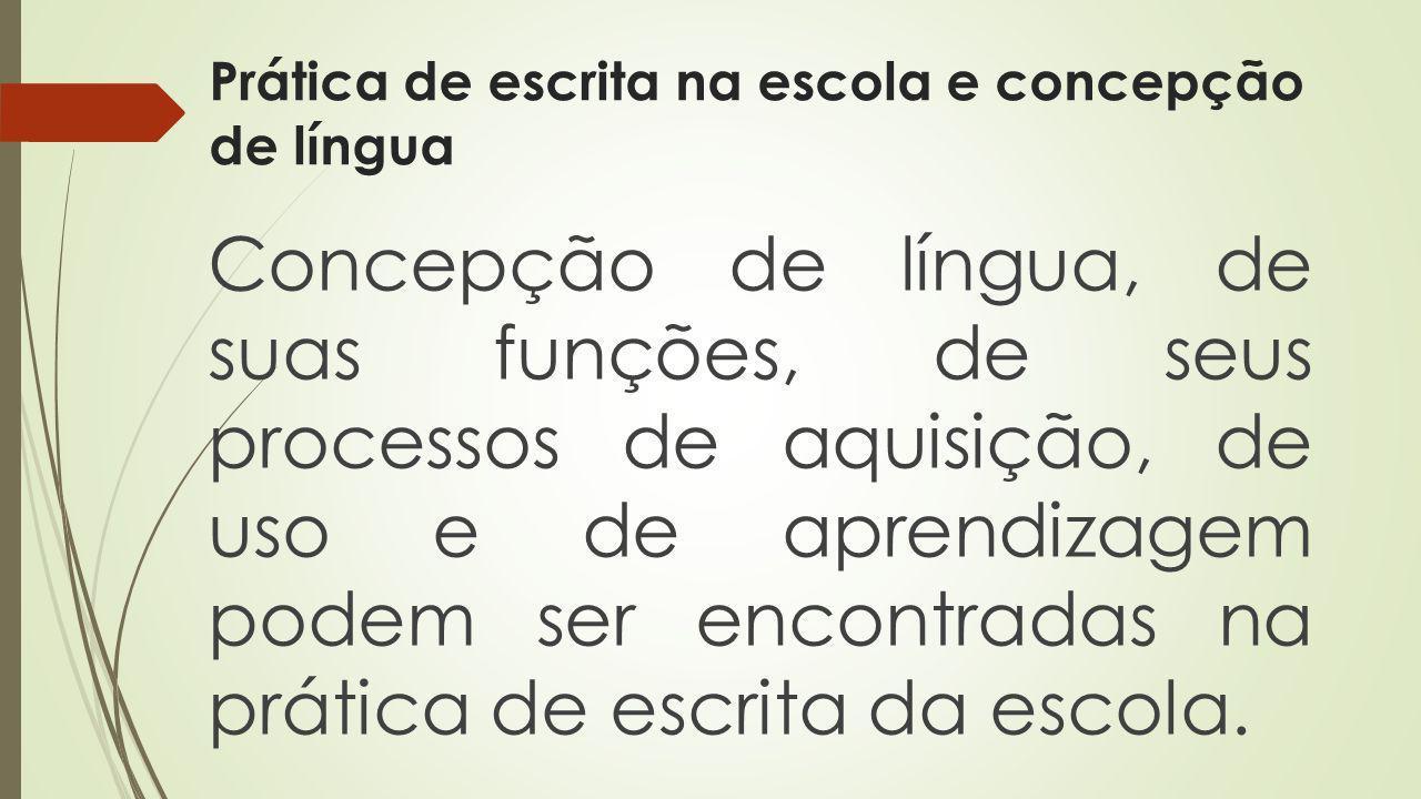 Prática de escrita na escola e concepção de língua