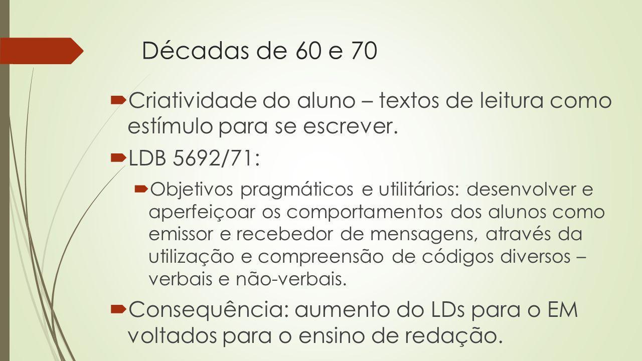 Décadas de 60 e 70 Criatividade do aluno – textos de leitura como estímulo para se escrever. LDB 5692/71: