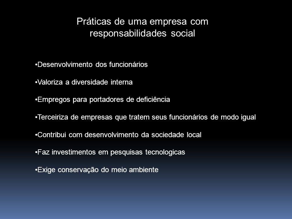 Práticas de uma empresa com responsabilidades social