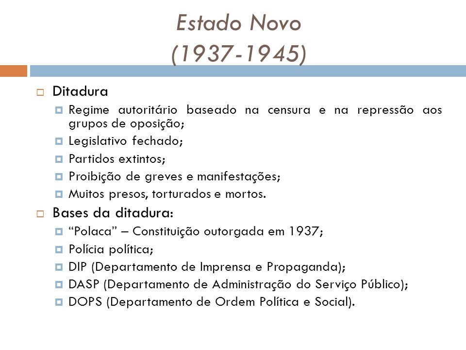 Estado Novo (1937-1945) Ditadura Bases da ditadura: