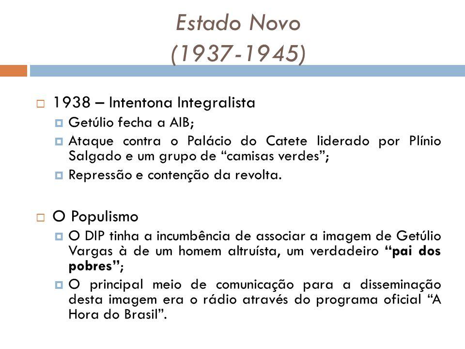 Estado Novo (1937-1945) 1938 – Intentona Integralista O Populismo