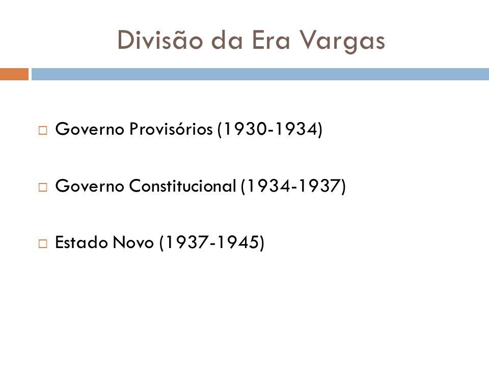 Divisão da Era Vargas Governo Provisórios (1930-1934)