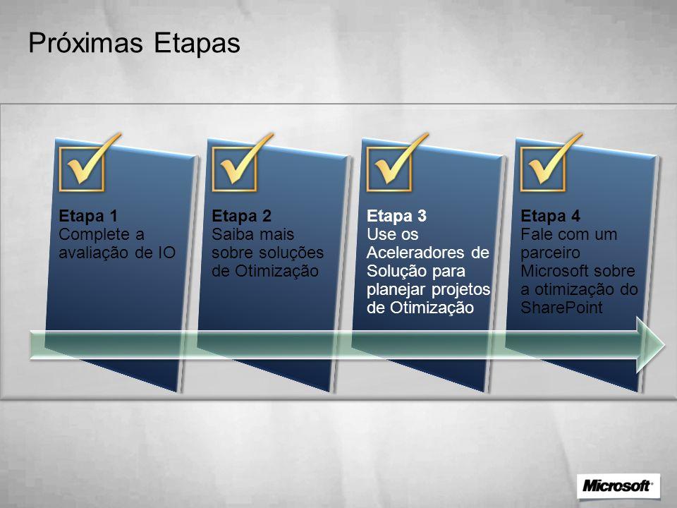 Próximas Etapas Etapa 1 Complete a avaliação de IO Etapa 2