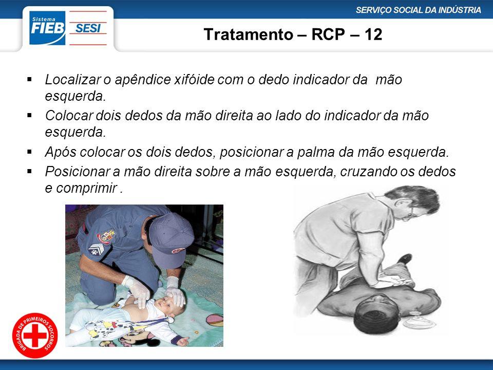 Tratamento – RCP – 12 Localizar o apêndice xifóide com o dedo indicador da mão esquerda.