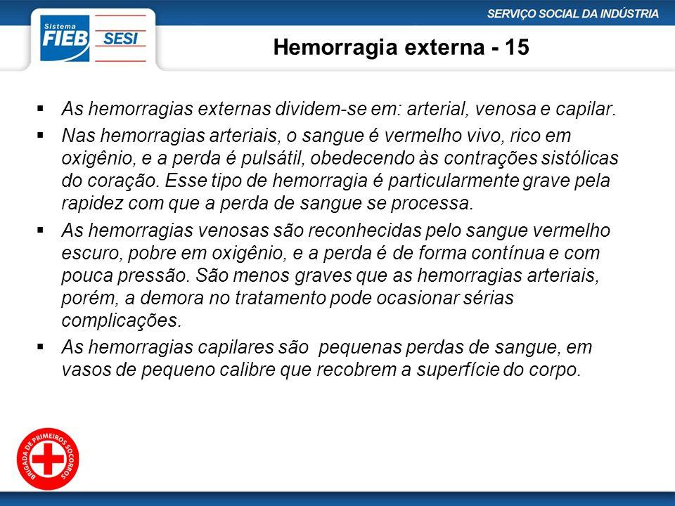Hemorragia externa - 15 As hemorragias externas dividem-se em: arterial, venosa e capilar.