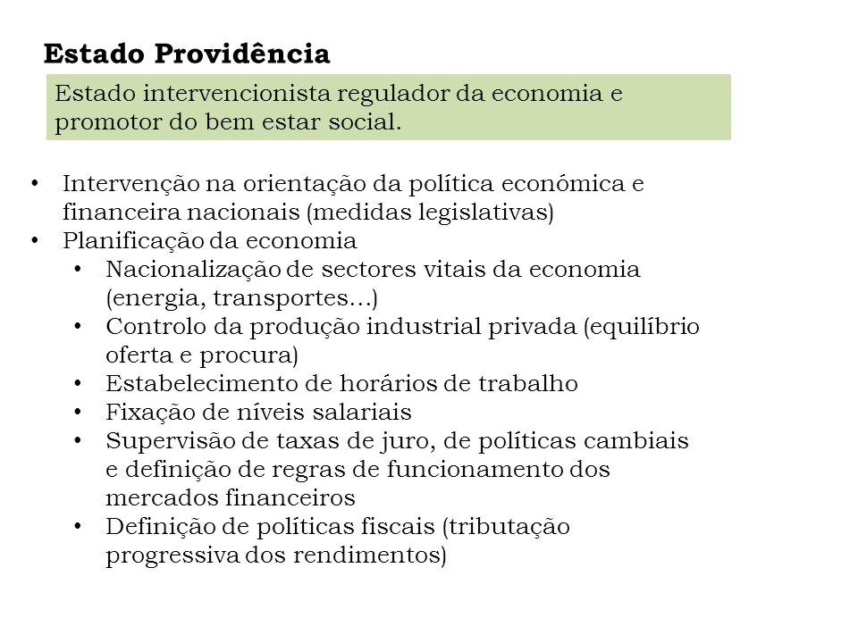 Estado Providência Estado intervencionista regulador da economia e promotor do bem estar social.