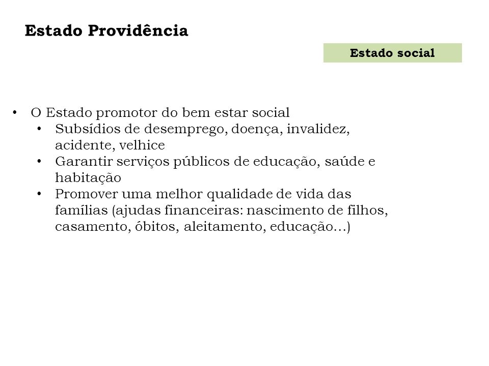 Estado Providência O Estado promotor do bem estar social