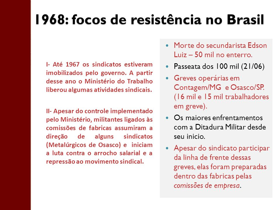 1968: focos de resistência no Brasil