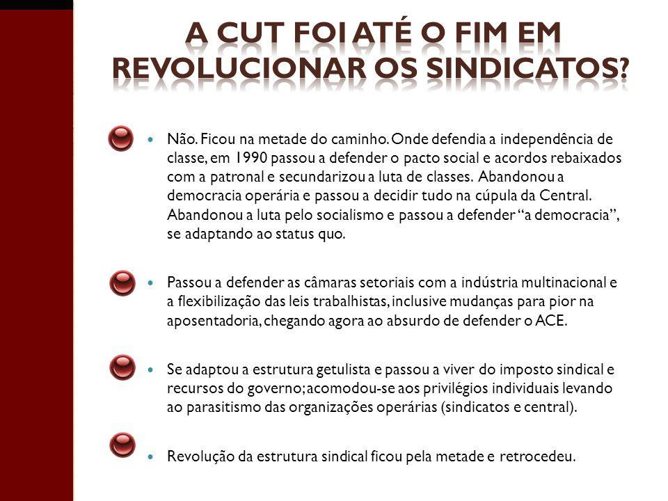 A CUT FOI ATÉ O FIM EM REVOLUCIONAR OS SINDICATOS