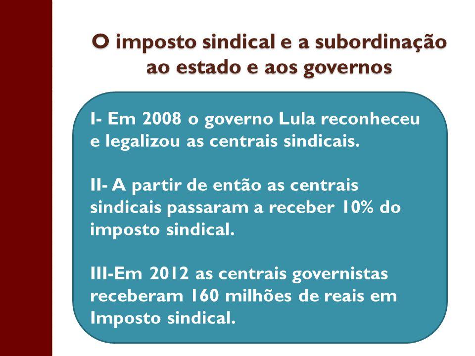 O imposto sindical e a subordinação ao estado e aos governos