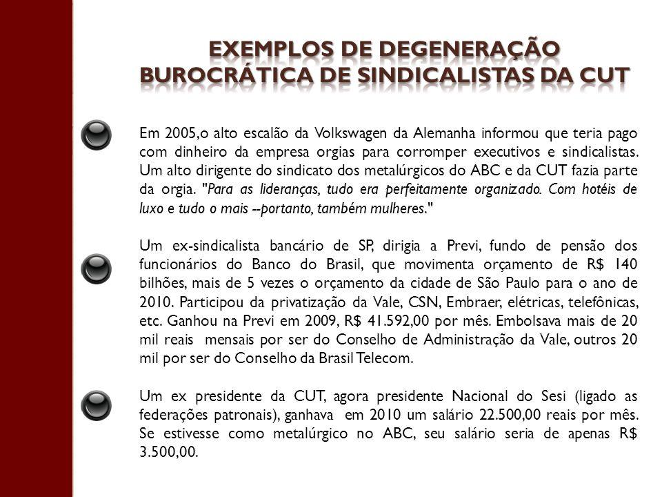 Exemplos de degeneração burocrática de sindicalistas da cut