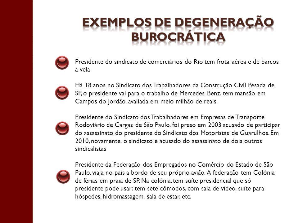 Exemplos de degeneração burocrática