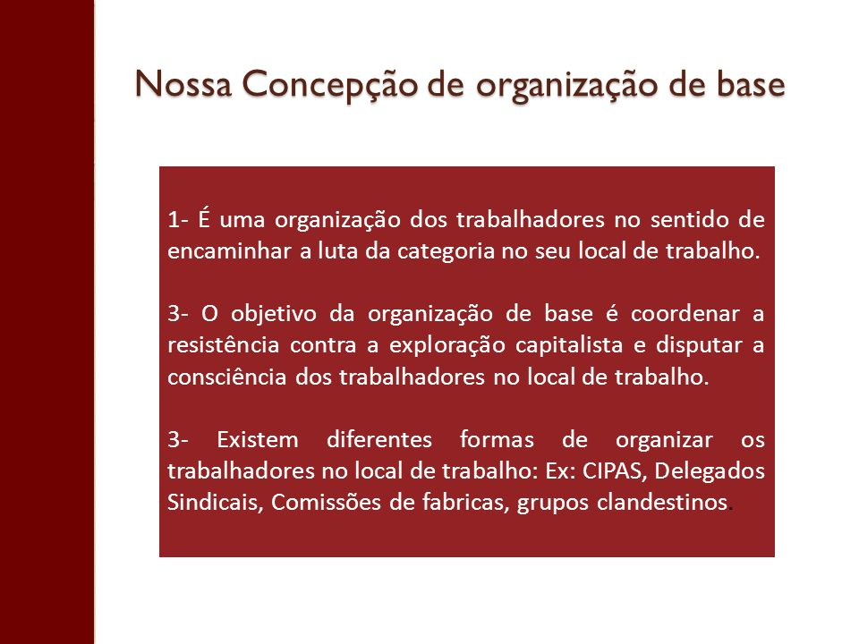 Nossa Concepção de organização de base