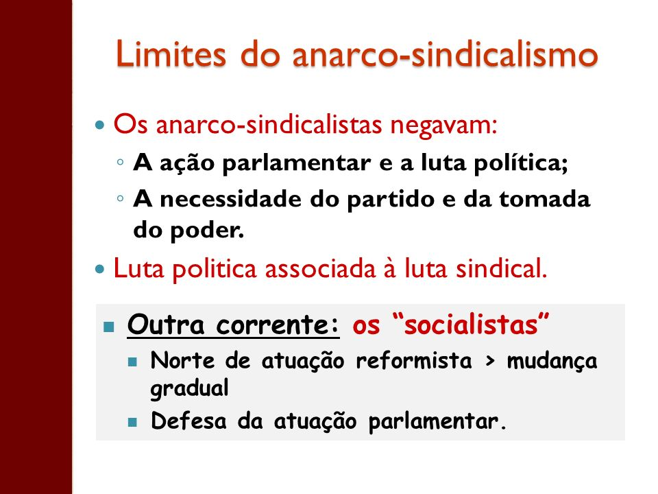 Limites do anarco-sindicalismo