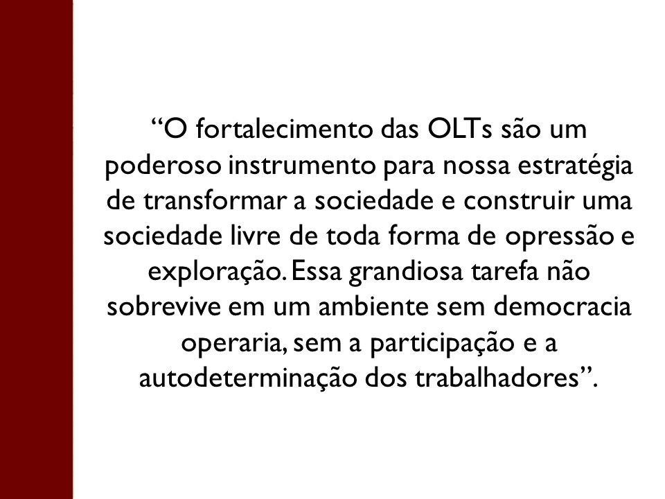 O fortalecimento das OLTs são um poderoso instrumento para nossa estratégia de transformar a sociedade e construir uma sociedade livre de toda forma de opressão e exploração.