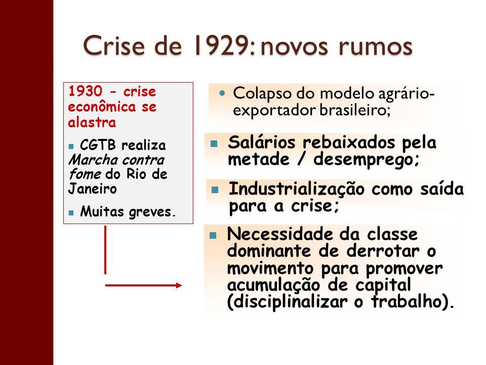 Crise de 1929: novos rumos 1930 - crise econômica se alastra. CGTB realiza Marcha contra fome do Rio de Janeiro.