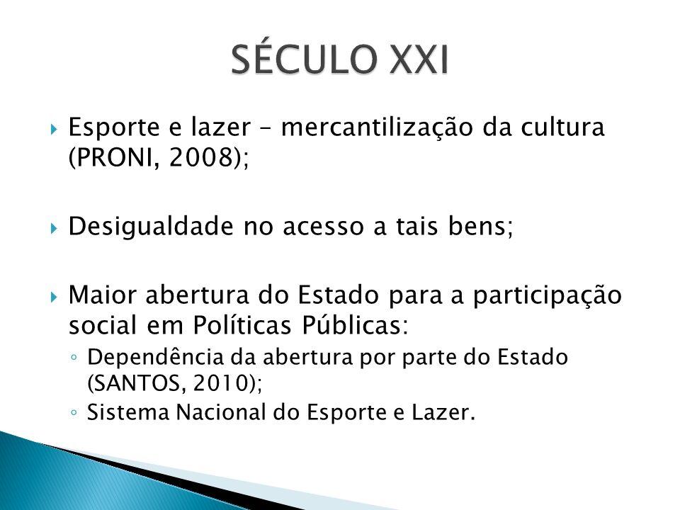 SÉCULO XXI Esporte e lazer – mercantilização da cultura (PRONI, 2008);