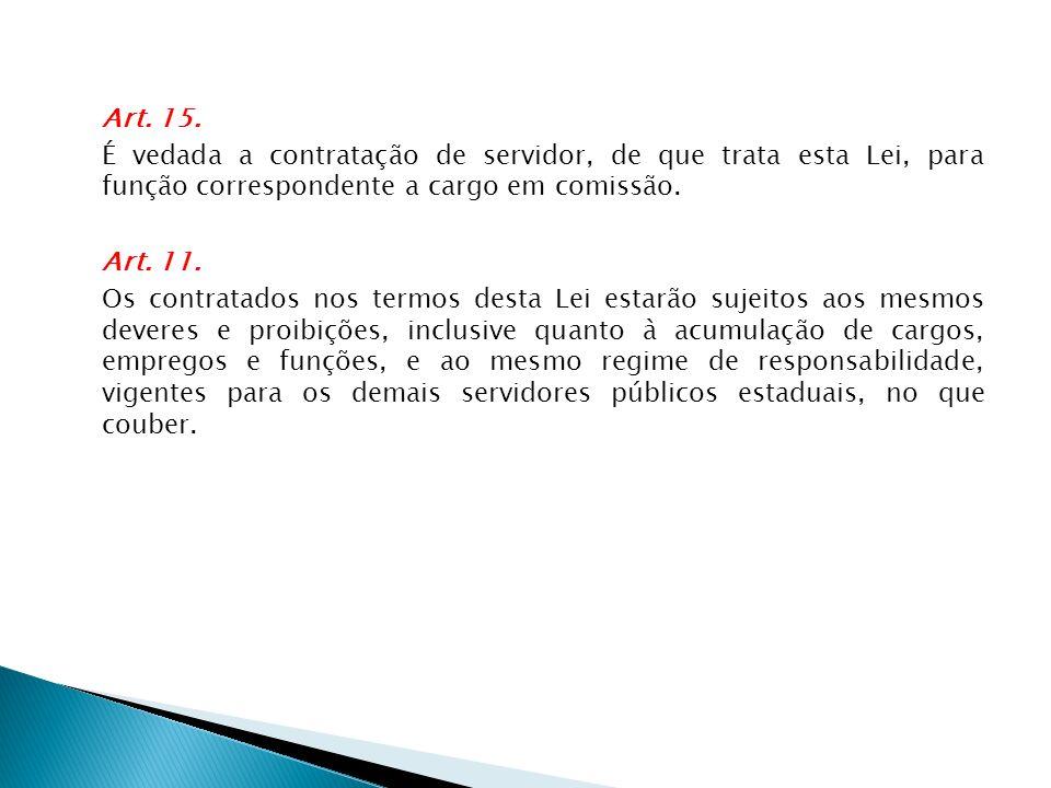 Art. 15. É vedada a contratação de servidor, de que trata esta Lei, para função correspondente a cargo em comissão.