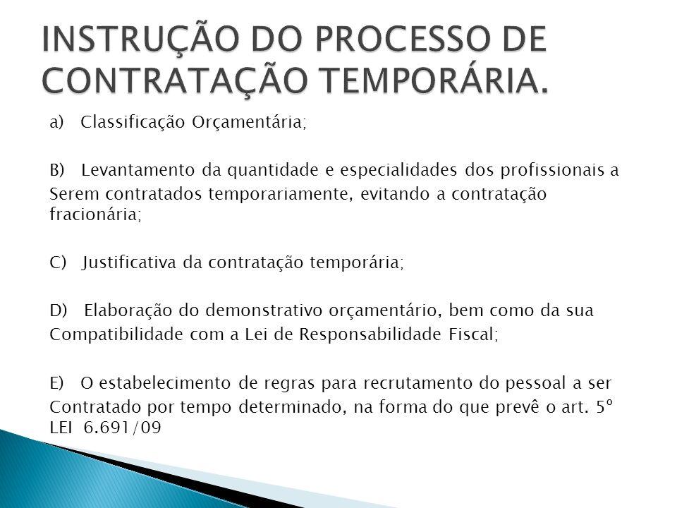 INSTRUÇÃO DO PROCESSO DE CONTRATAÇÃO TEMPORÁRIA.
