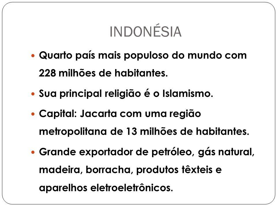 INDONÉSIA Quarto país mais populoso do mundo com 228 milhões de habitantes. Sua principal religião é o Islamismo.