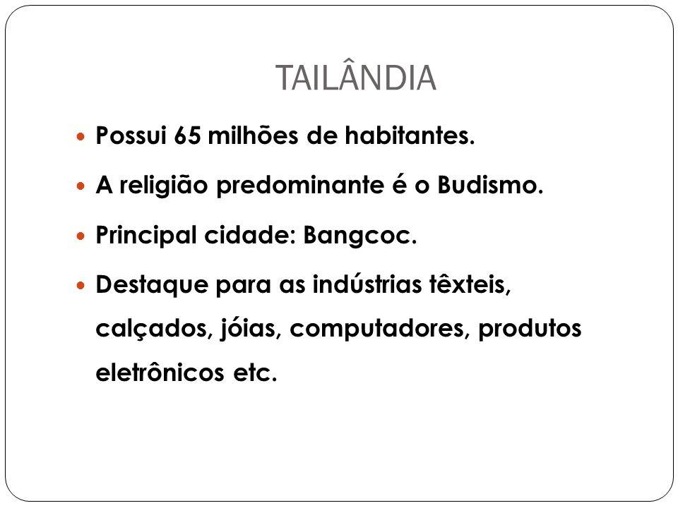 TAILÂNDIA Possui 65 milhões de habitantes.