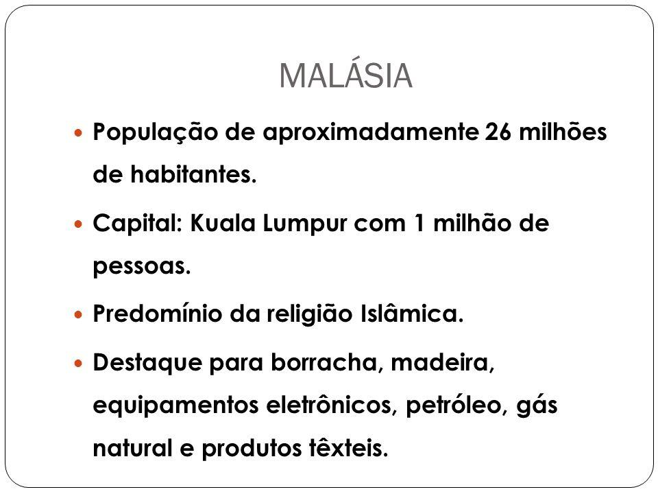 MALÁSIA População de aproximadamente 26 milhões de habitantes.