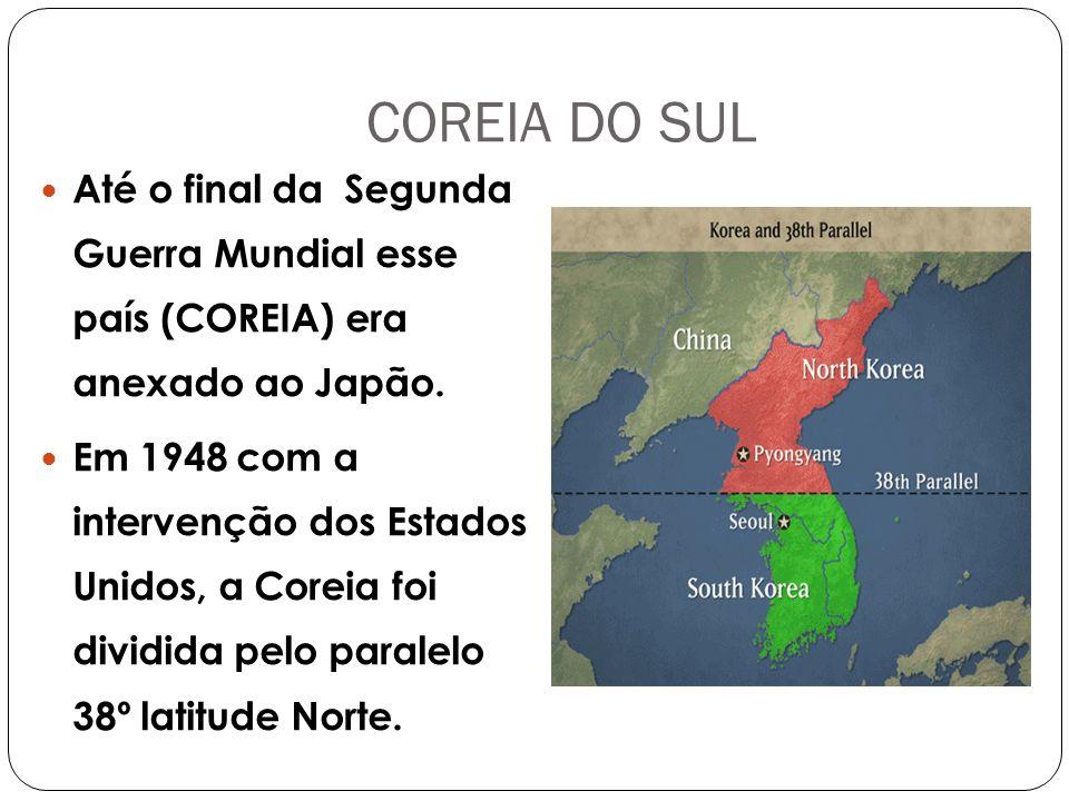 COREIA DO SUL Até o final da Segunda Guerra Mundial esse país (COREIA) era anexado ao Japão.
