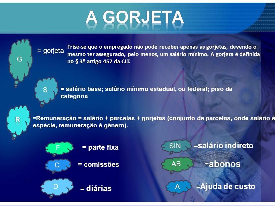 A GORJETA = gorjeta G S R SIN =salário indireto F = parte fixa =abonos